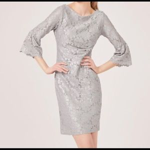 Jessica Howard Metallic Silver Lace Occasion Dress